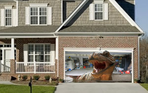 Mean T Rex Garage Door Screen
