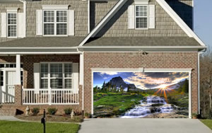 Mountain Sunset Garage Door Screen