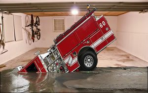 Sinking Firetruck Garage Door Screen
