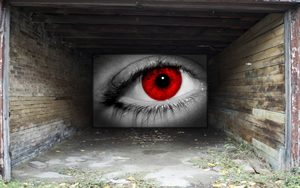 Red Eye Garage Door Illusion
