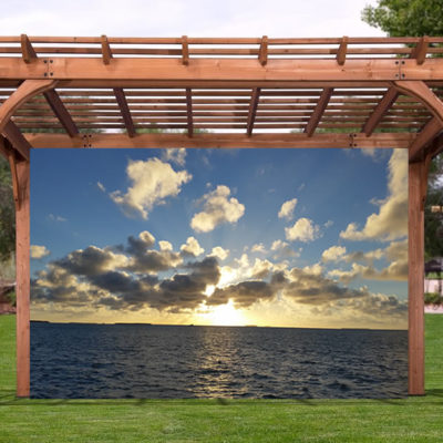 Blue Sky Ocean Sunset Pergola Screen